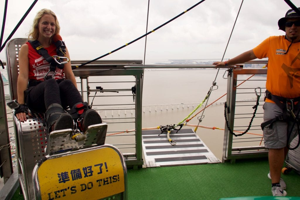 Macau Tower. 233 meters. The world's highest bungy jump. Calling all adrenalin seekers! Operated by AJ Hackett, this experience cannot be missed! Read more at www.thefivefoottraveler.com
