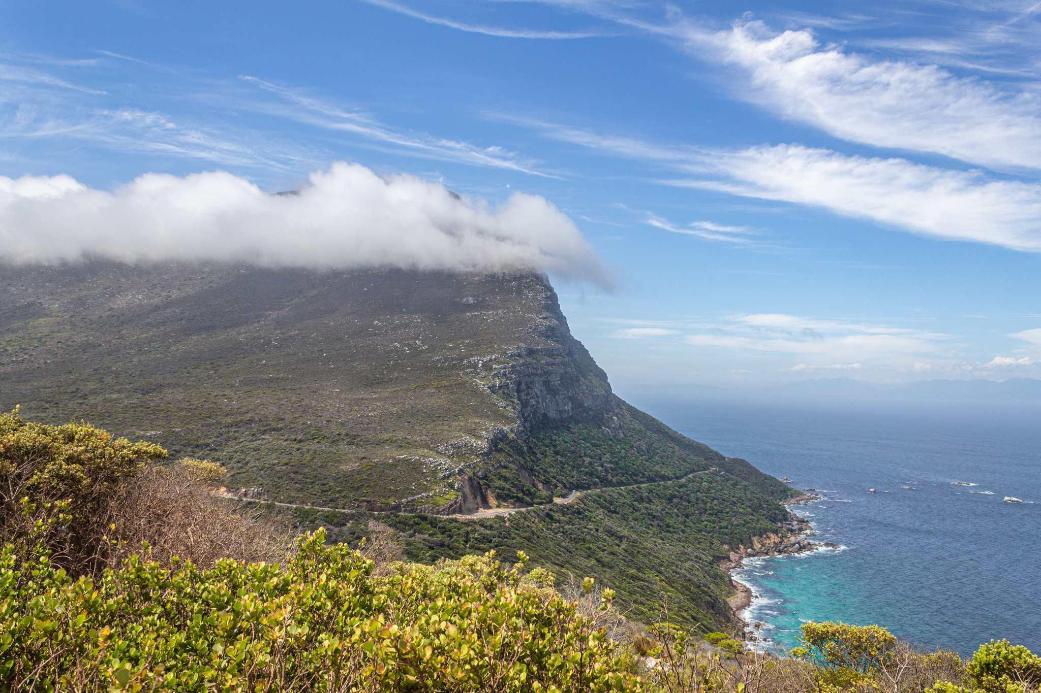 cape point had beautiful cliffs that reach the sea