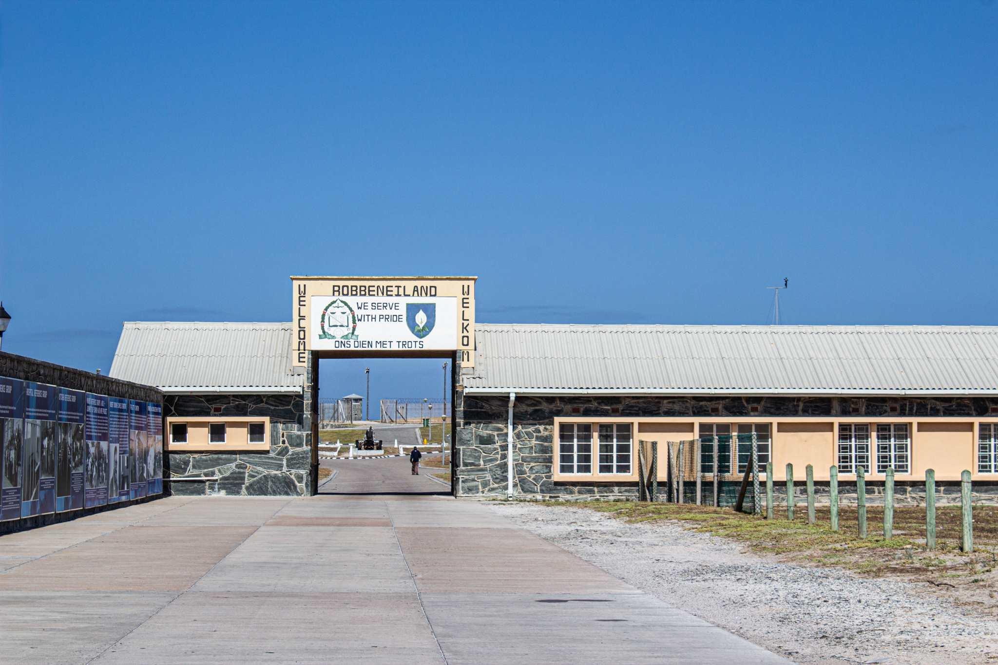 entrance to robben island, a yellow building
