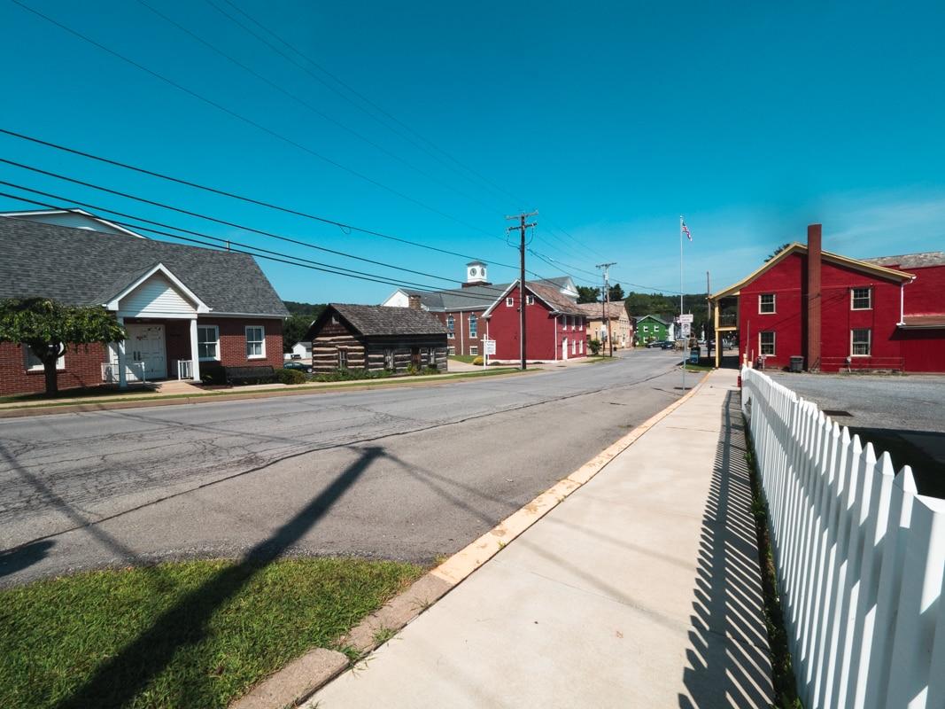 german colonial buildings line the street in butler county