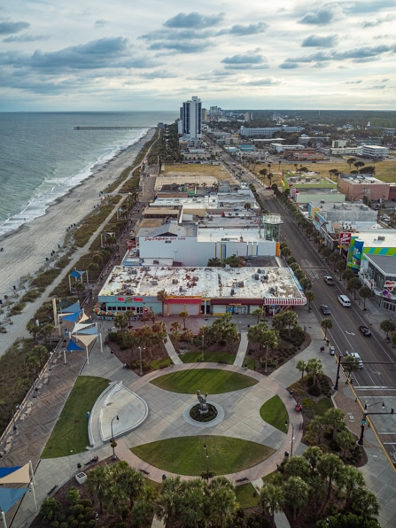 a birds-eye view of myrtle beach from the skywheel