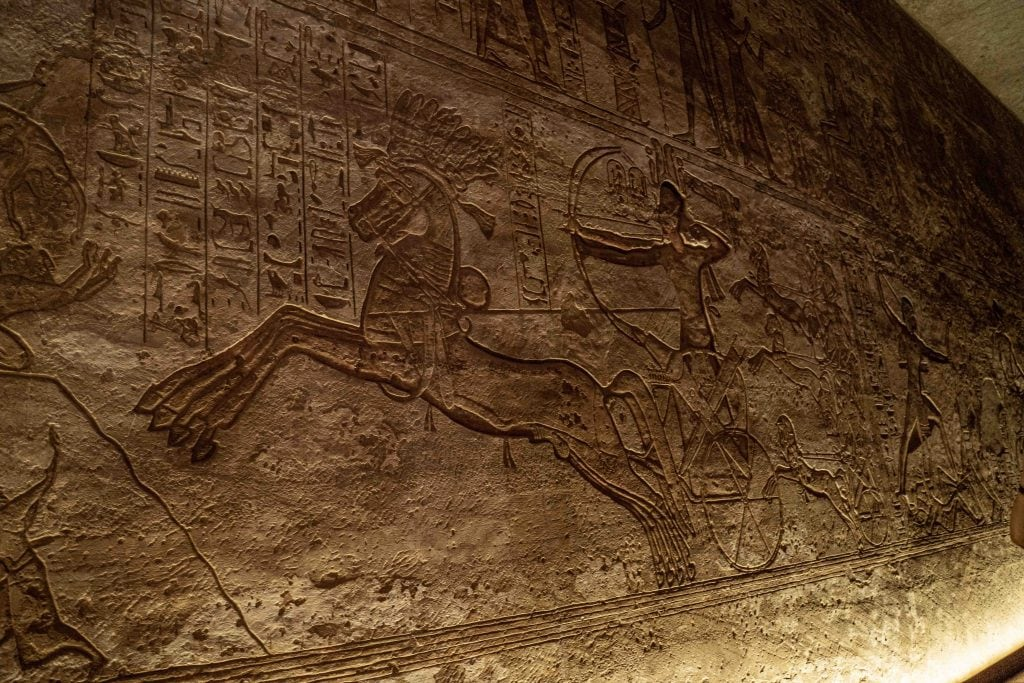 reliefs inside abu simbel in incredible condition