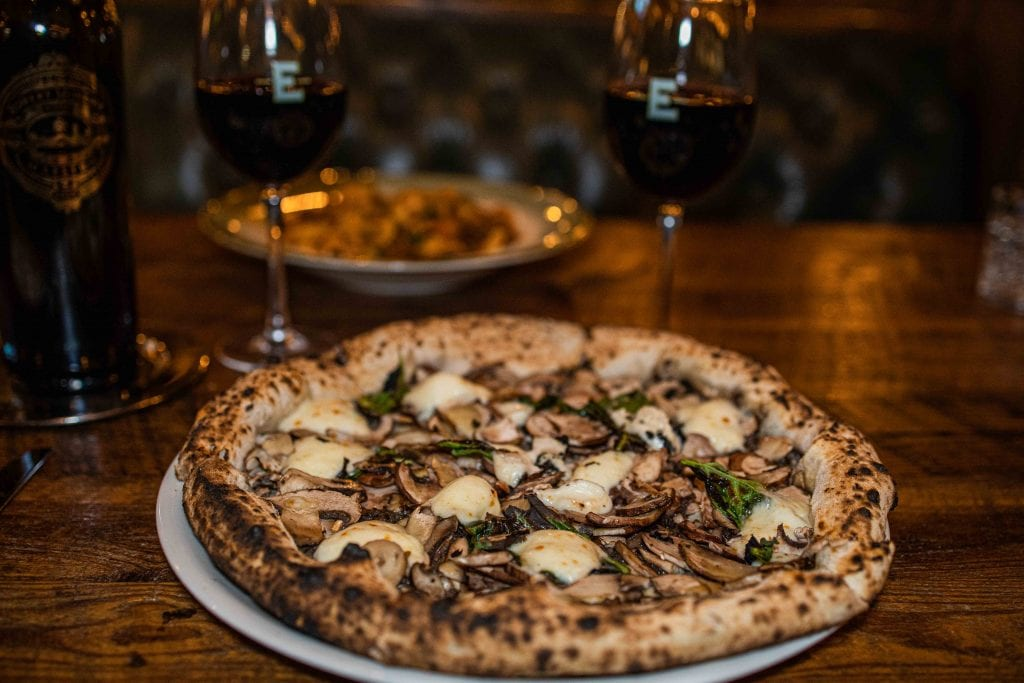 tartufo pizza and red wine at elisabetta's ristorante in delray beach