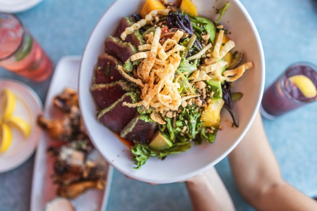 an ahi tuna lunch bowl at deck 84 in delray beach