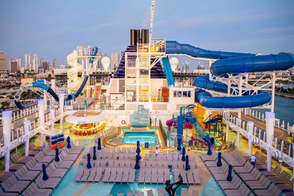 aqua park and top deck of the norwegian encore - things to do on the norwegian encore