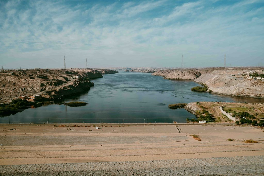 overlooking the high dam on our aswan to luxor cruise