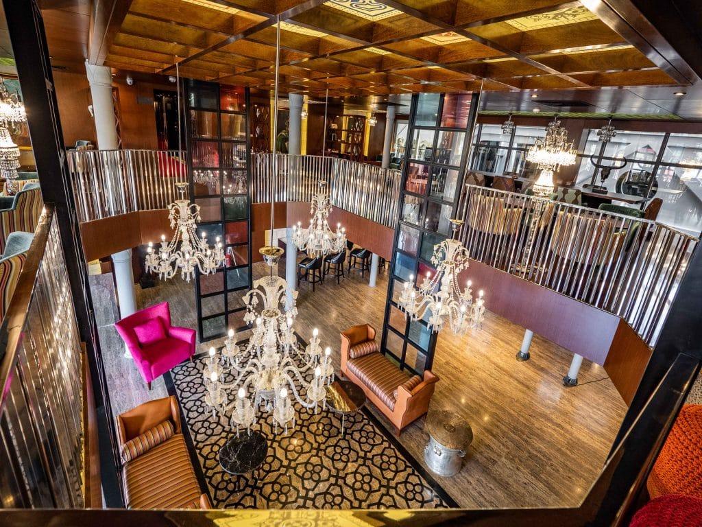 the lobby of a luxury nile cruise