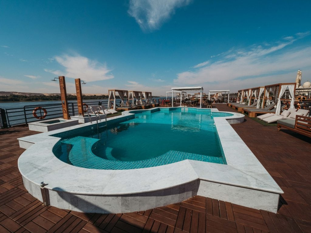 beautiful pools and cabanas on the sundeck of the m.s. mayflower