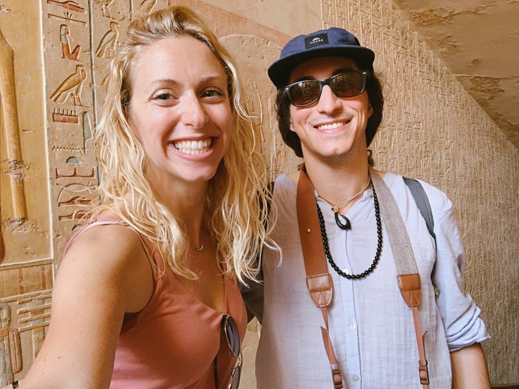 brother and sister take a selfie in the valley of the kings on an excursion from their egypt cruise