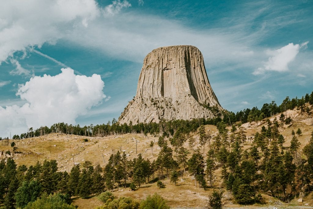 a look at devil's tower, also known as grizzly bears lodge, over the vast plains of wyoming
