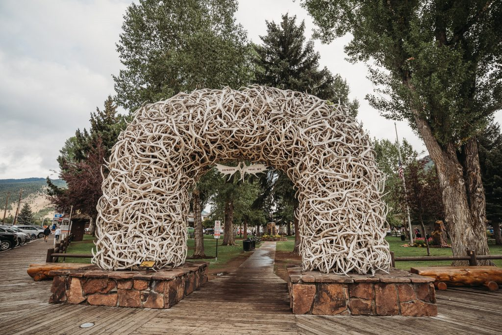 the entrance to the jackson town square, made of deer horns