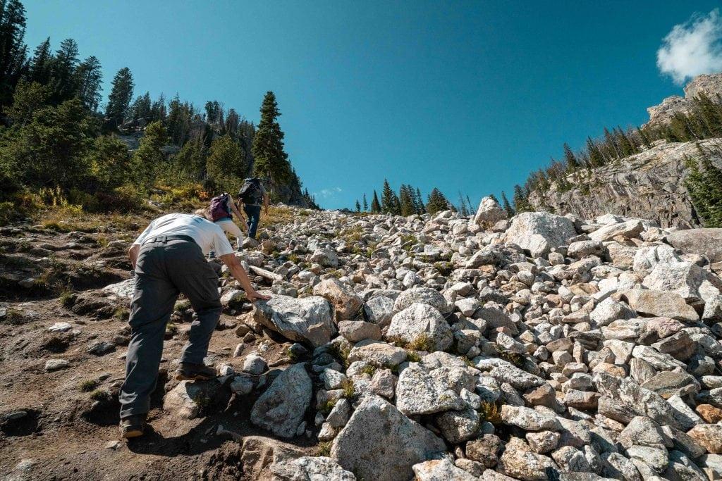 grandpa rock scrambling toward delta lake