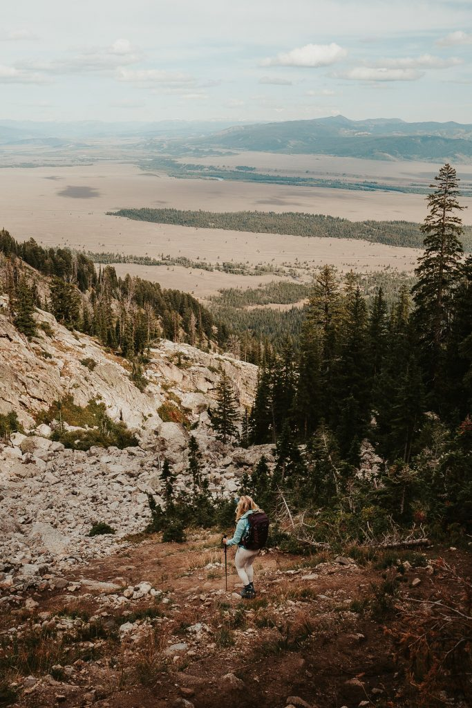 the beginning of the delta lake descent in grand teton national park