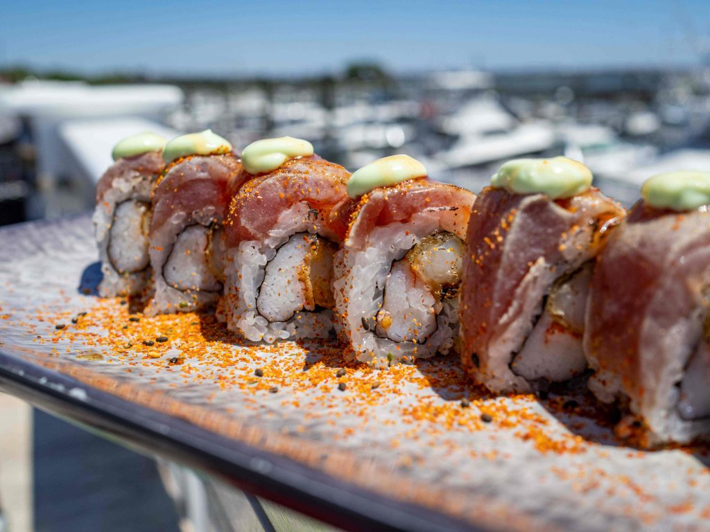 wicked tuna sushi roll pictured by the waterfront in Myrtle Beach
